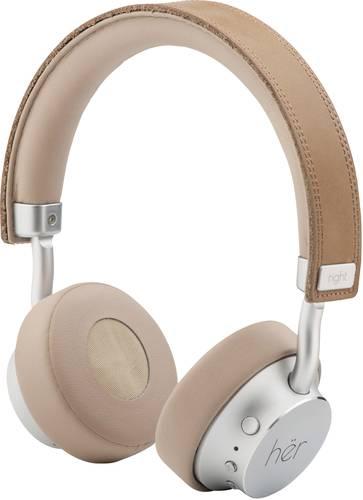 HER HF8 Bluetooth®, kabelgebunden On Ear Stereo-Headset On Ear Lautstärkeregelung Beige, Silber