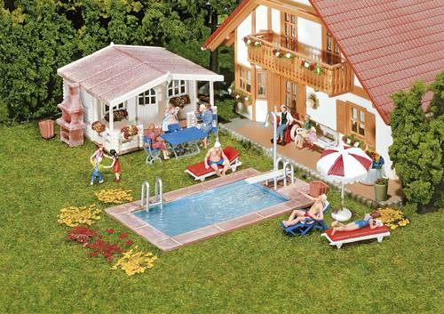 Faller 180542 H0 Swimming Pool und Gartenhaus
