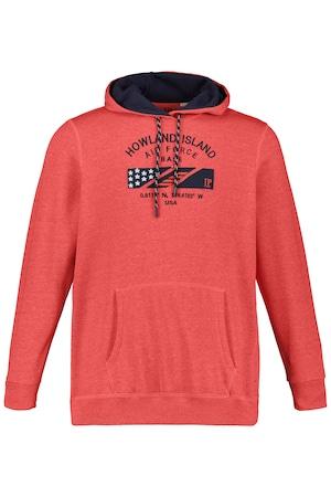 Ulla Popken Hoodie, Kapuzensweater, Howland Island Stick - Große Größen in orange-melange