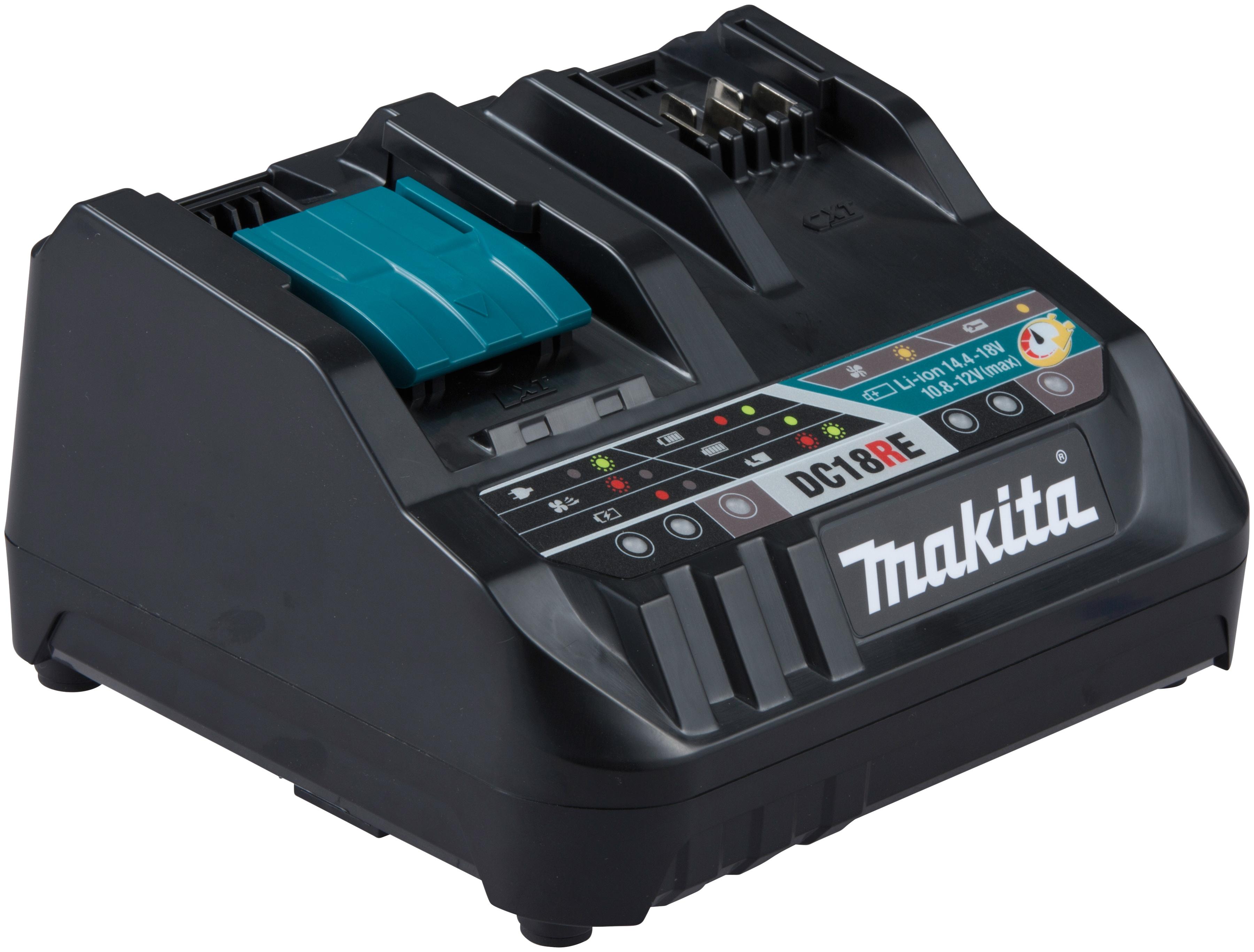 Makita Schnelllade-Gerät DC18RE Duo, (1 St.), Schnellladegerät für Makita CXT- und LXT-Akkus