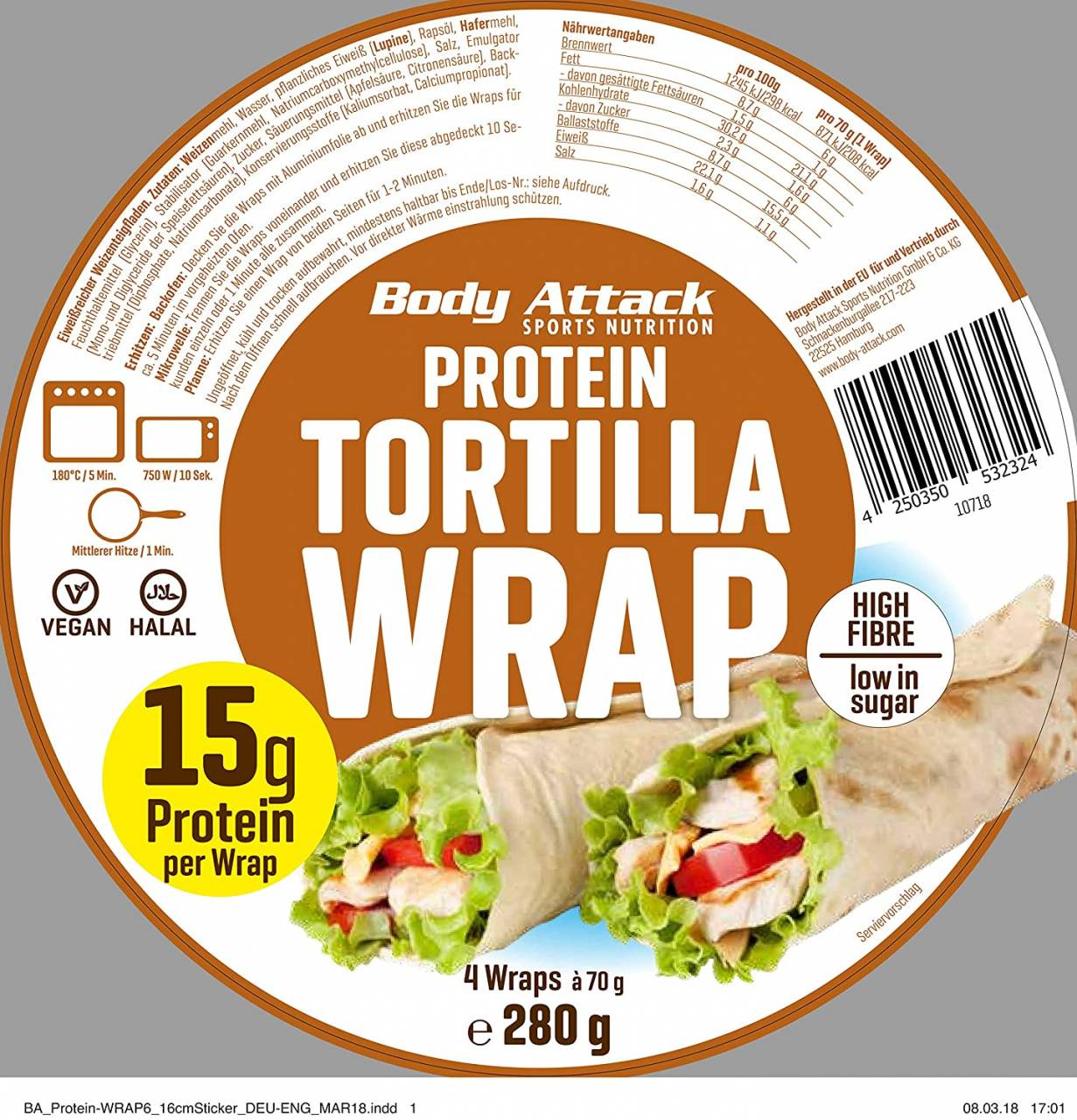 Body Attack Protein Wrap (4x70g Packung ) Low Carb High Protein Wrap (Vegan+H...