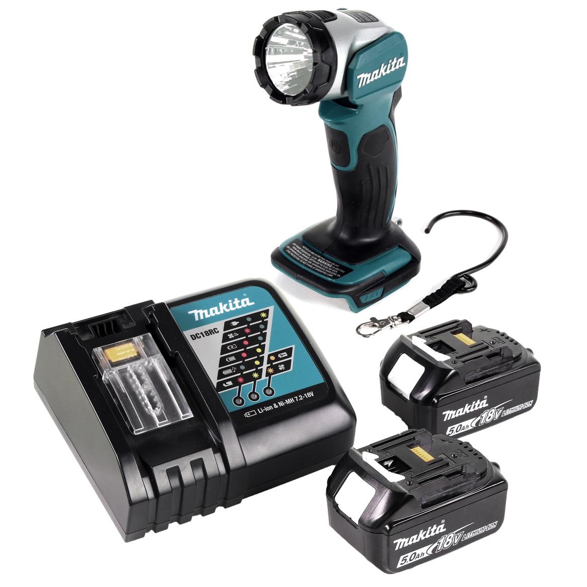 Makita DML 802 RT Akku Lampe 18 V Li-Ion für 14,4 und 18 V Akku + 2 x 5,0 Ah Akku + Ladegerät