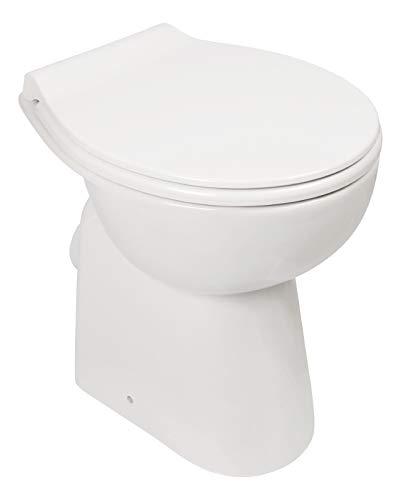Calmwaters® - Spülrandloses Stand-WC, Toilette im Komplettset mit WC-Sitz, Tiefspüler mit Toilettendeckel und Erhöhung von 7 cm, Komfort ohne Spülrand - 07AB3134