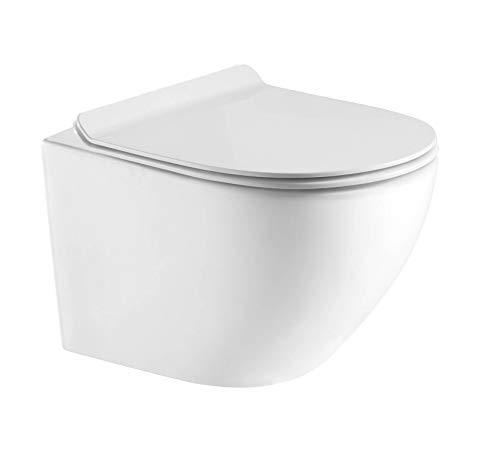 Hänge WC Spülrandlos kurz, Designer Wand Toilette Nano beschichtet mit WC Sitz + Deckel aus Duroplast in 2 versionen und Softclose Absenkautomatik abnehmbar + Beschichtung (WC mit Slim Sitz)