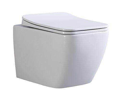 Cube Design Hänge WC spülrandlos Toilette inkl. WC Sitz mit Softclose Absenkautomatik + abnehmbar