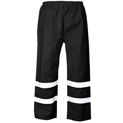 ZHANSANFM Hose Herren Reflektierend Sporthose Freizeithose Hip Hop Lang Streetwear Loose Fit Fitnesshose Jogginghose Sicherheitshose Feuerwehr Kostüm Warnschutz Arbeitslatzhos (4XL, Schwarz)