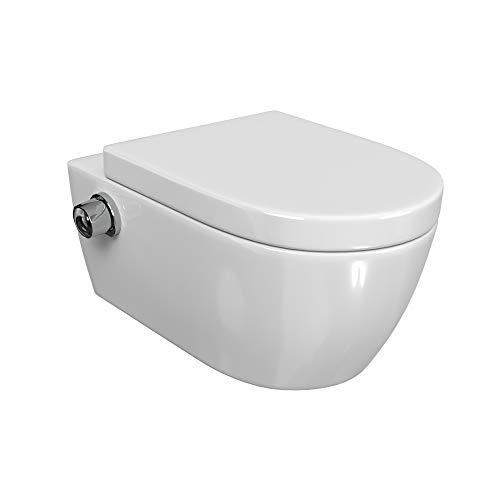 SSWW   Taharet WC   Inkl. Armatur und abnehmbarer Softclose Sitz   Dusch-WC   Hänge-WC   Toilette mit Bidet-Funktion   Hygienisch   Alpha Spülrandlos   540 x 360 x 330 mm