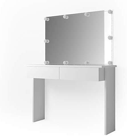 Vicco LED Schminktisch Azur Frisiertisch Kommode Weiß Hochglanz Frisierkommode Schminkkommode mit Spiegel und LED Beleuchtung