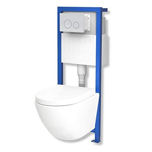 Domino Lavita Vorwandelement inkl. Drückerplatte + Wand-WC Sofi ohne Spülrand + WC-Sitz mit Soft-Close Absenkautomatik Drückerplatte OW (weiß)