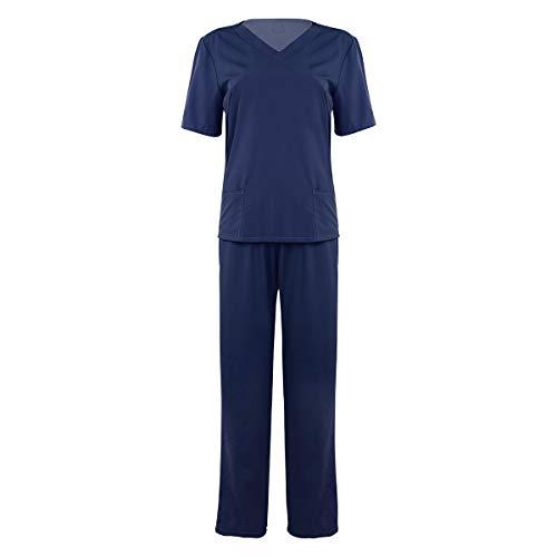 Alvivi Medizinische Uniformen Unisex Top Krankenschwester Krankenhaus Berufskleidung Erwachsenemedizinische Bekleidungsset Marineblau L
