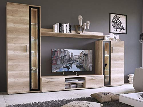 KRYSPOL Wohnwand Bentley Anbauwand, TV-Lowboard, Hängeschränke, Wandboard, Fernsehschrank, Wohnzimmerschran (mit Blauer LED Beleuchtung)