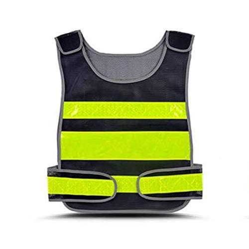 Heflashor Unisex Kinder Sicherheitsweste Hohe Sichtbarkeit Warnweste Atmungsaktiv Warnschutz Reflektierende Schutz Weste für Jungs/Mädchen (Schwarz+Gelb, One Size)