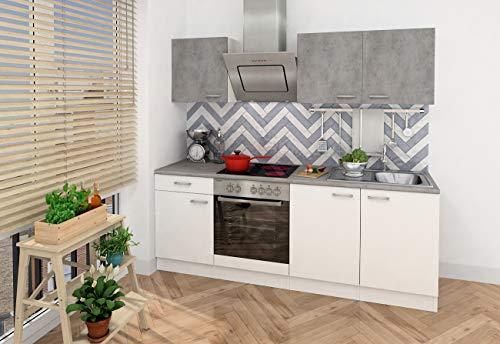 respekta Einbau Küche Küchenzeile Küchenblock 210 cm weiss Beton Optik, inkl. Softclose Cerankochfeld
