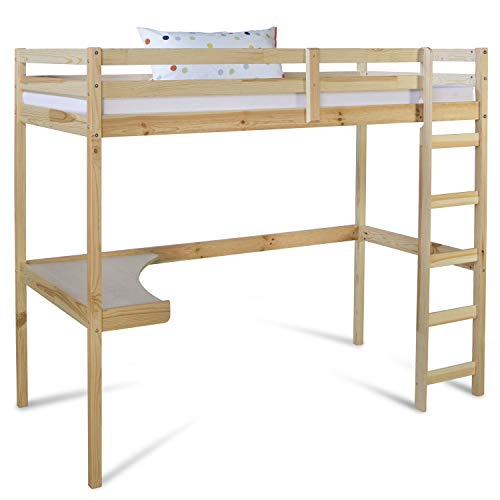 Homestyle4u 1930, Kinder Hochbett mit Schreibtisch, Kinderbett 90x200 cm Natur, Holz Kiefer