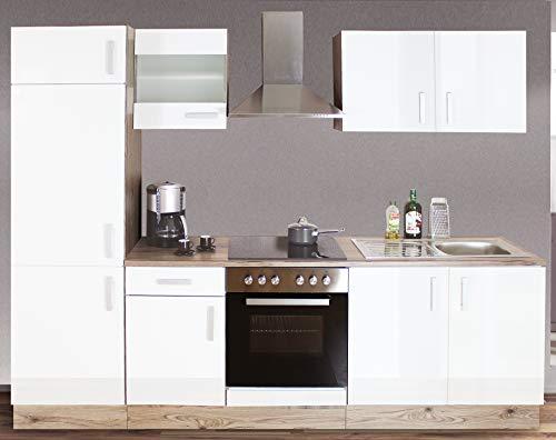 Küche Einbauküche mit Elektrogeräten Ceran 270 cm KORPUS VOR-MONTIERT Links