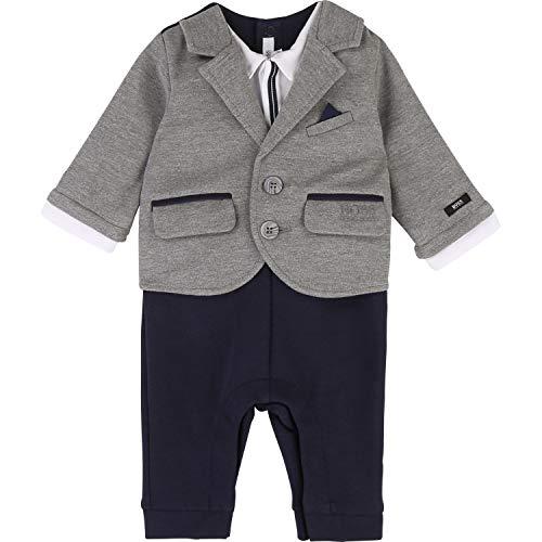 Hugo Boss Baby All in One Milano Anzug Hose Shirt Sakko in einem Teil grau blau weiß Groesse 18 Monate
