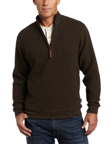 WOOLRICH Herren Bromley Half Zip Sweater Sweatshirt, Mokka Heather, Mittel