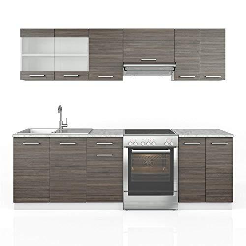 Vicco Küche Raul Küchenzeile Küchenblock Einbauküche 240 cm Anthrazit - Frei Kombinierbare Einheiten