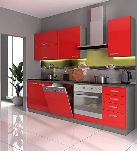 Küche Vario Basic III 240cm Küchenzeile in Hochglanz Rot Küchenblock Einbauküche