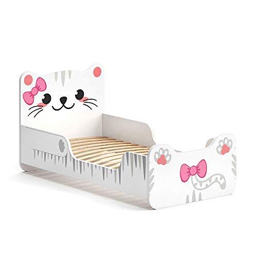 VitaliSpa Kinderbett IZZY 80x160 cm Weiß Juniorbett Jugendbett Katze Mädchenbett (Weiß)
