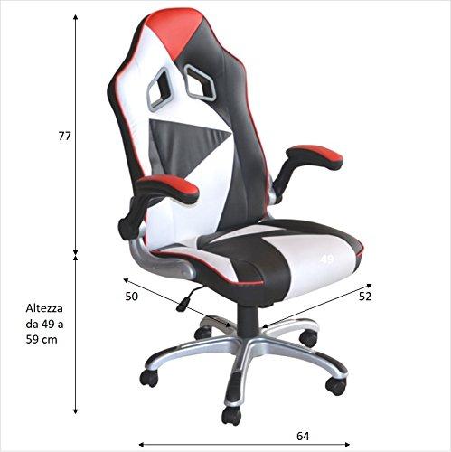 Polironeshop Montecarlo Chefsessel Bürostuhl für Gaming im Racing-Stil, Möbelstück für den Arbeitsplatz, für Zuhause, für den Schreibtisch in der Arbeit