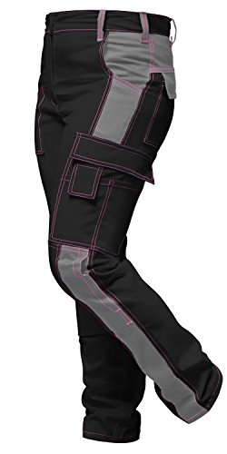 strongAnt® - Damen Arbeitshose komplett Stretch Schwarz Grau Pink für Frauen Bundhose mit Kniepolstertaschen. Reißverschluss YKK + Metallknopf YKK - Made in EU - Schwarz-Grau 48