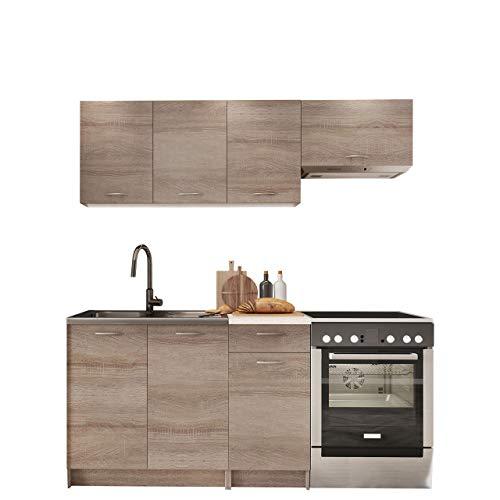 Küche Mela 180/120 cm, Küchenblock/Küchenzeile, 5 Schrank-Module frei kombinierbar (Trüffel/Petra Beige)