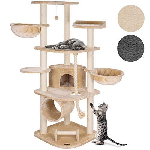 Happypet® MASSIVER Kratzbaum für Grosse Katzen 181 cm hoch CAT041 Kletterbaum Katzenbaum, 9cm Sisal-Stämme, Haus Spieltunnel, XXL-Liegemulden belastbar bis 15kg, 5 Plattformen, Tau, Kratzrolle, BEIGE