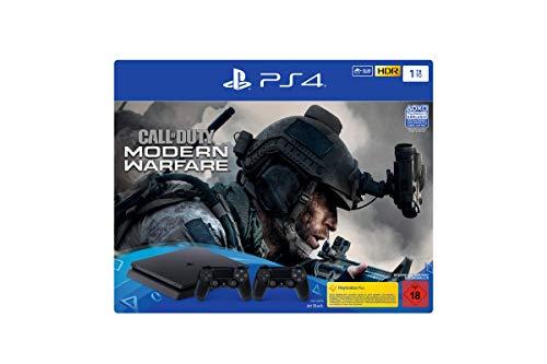 PlayStation 4  Slim inkl. 2. Controller und Call of Duty: Modern Warfare - Konsolenbundle (1TB, schwarz, Slim)
