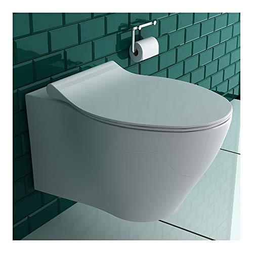 Alpenberger Spülrandloses Tiefspül-WC aus hochwertiger Sanitärkeramik mit Befestigungselemente   Hänge-WC inkl. Quick-Release WC-Deckel mit Soft-Close Absenkautomatik   passend zu GEBERIT