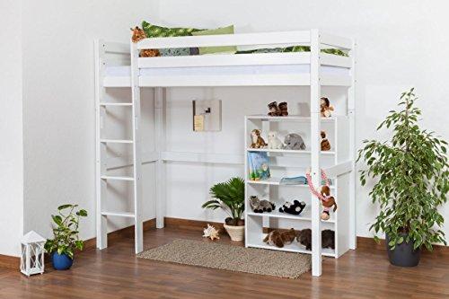 Kinderbett Hochbett/Kinderbett Dominik Buche Vollholz massiv Weiß lackiert inkl. Rollrost - 90 x 200 cm