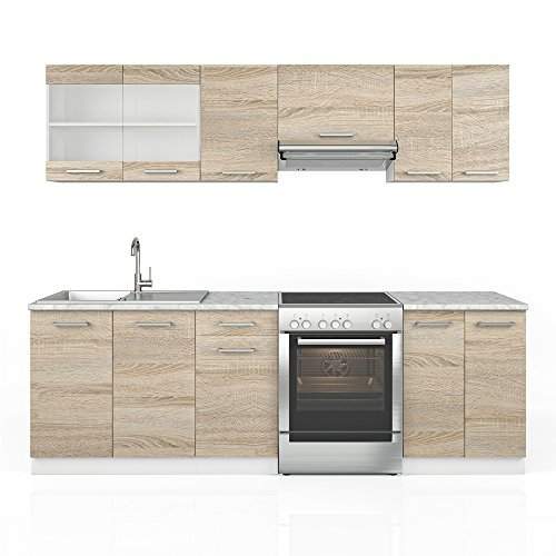 Vicco Küche Raul Küchenzeile Küchenblock Einbauküche 240 cm Sonoma Frei Kombinerbare Einheiten