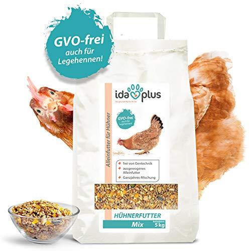 Ida Plus - Hühnerfutter Mix 5 Kg - Ausgewogenes Alleinfutter - Ganzjahresmischung - GVO-frei auch für Legehennen - Bestens für Futterautomaten geeignet - Enthält Calcium und Vitamine