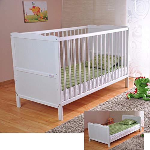 BABY Gitterbett Babybett Kinderbett mit Aloe Vera Schaumstoffmatratze Zahnschienen höhenverstellbar Weiß umbaubar zum Juniorbett