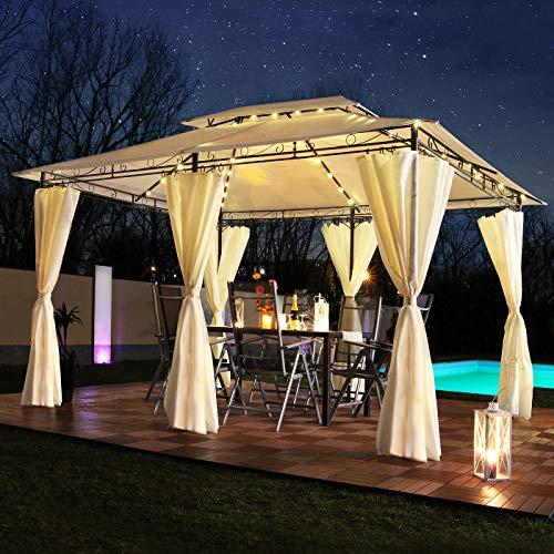 Swing & Harmonie Luxus LED - Pavillon 3x4m Minzo - inkl. Seitenwände mit LED Beleuchtung + Solarmodul Designer Gartenpavillon optional mit Moskitonetz Gartenzelt Partyzelt (ohne Moskitonetz, Creme)