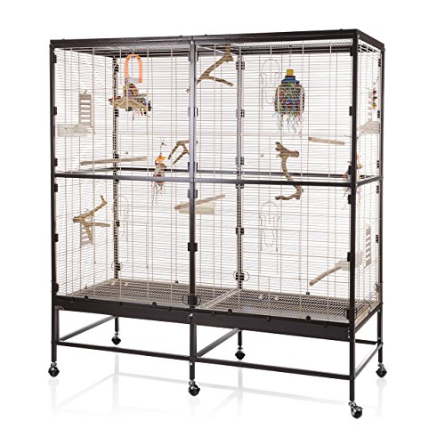 Montana Cages ® | Vogelvoliere Paradiso 150 | Choco - Vanille | artgerechter Wellensittichkäfig | Voliere für Wellensittiche, Nymphensittiche & Co.