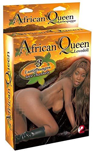 You2Toys Puppe African Queen - lebensgroße, dunkelhäutige Liebespuppe für ihn, weibliche Sexpuppe für vaginales oder anales Vergnügen, aufblasbar