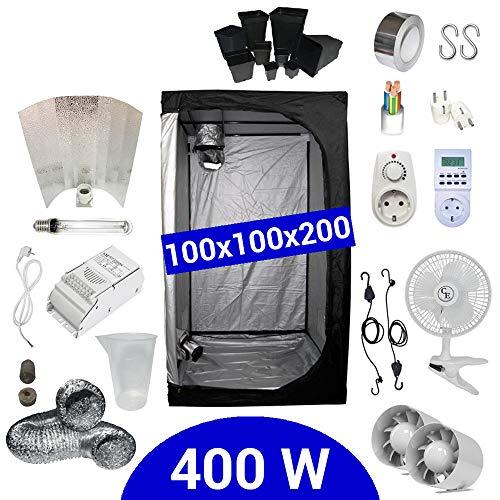 Growbox Komplettset 400 Watt HPS Adjust-a-Wings 100x100x200 cm - Vorschaltgerät ETI 1