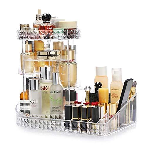 KVASS Makeup Organizer 360 Grad Drehbarer Beauty-Organizer Einstellbarer Kosmetik Box Acryl Schmink Aufbewahrung mit Lippenstift Pinsel Nagellack Kosmetikbox für Schlafzimmer, Badezimmer transparent