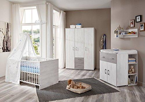 lifestyle4living Babyzimmer Komplettset für Jungen und Mädchen, Weiß, 4-teilig   Babybett 70x140 cm, Wickelkommode, Kleiderschrank   Modernes Baby Kinderzimmer