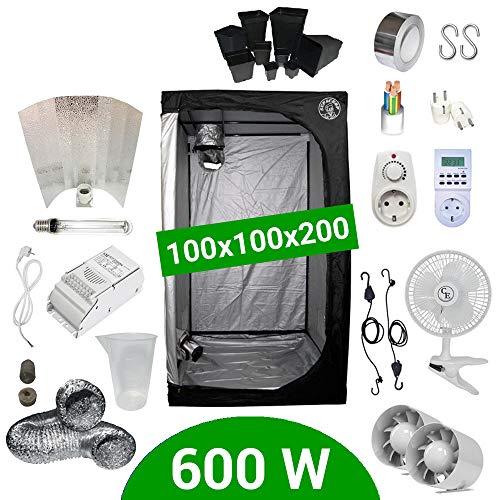 Growbox Komplettset 600 Watt HPS Adjust-a-Wings 100x100x200 - Vorschaltgerät ETI 1