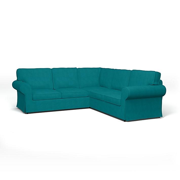 IKEA - Bezug für 4er-Ecksofa Ektorp, Teal Blue, Leinen - Bemz
