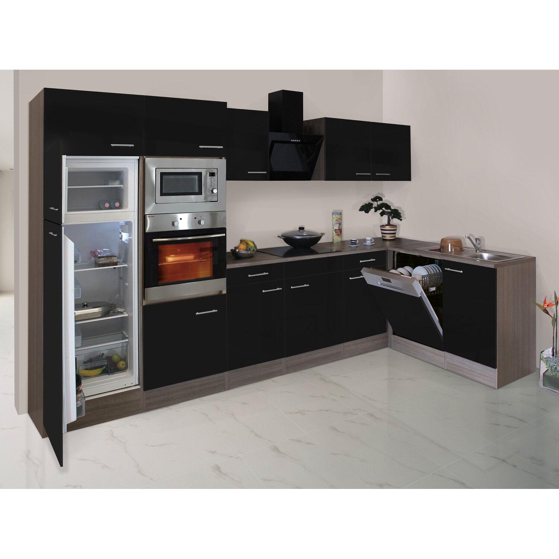 Respekta Winkelküche/L-Küche 340 cm Schwarz-Seidenglanz Eiche-York