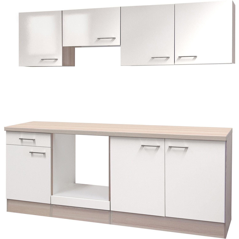 Flex-Well Küchenzeile/Küchenblock 210 cm ohne E-Geräte Abaco Perlmutt glänzend - Akazie