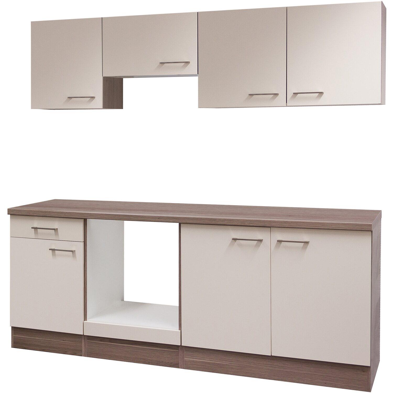 Flex-Well Küchenzeile/Küchenblock 210 cm ohne E-Geräte Eico Magnolienweiß - Tennessee Eiche