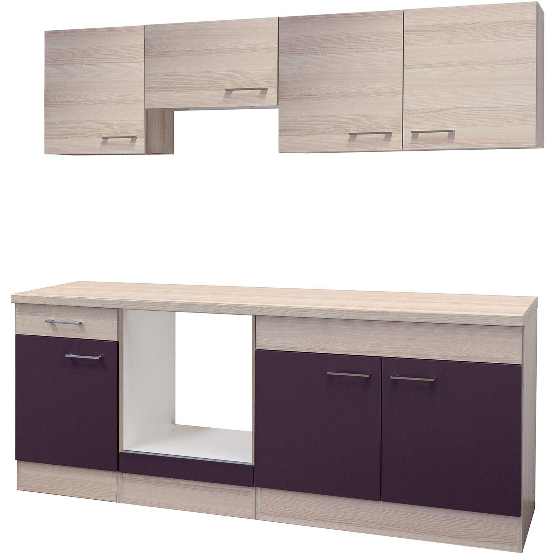 Flex-Well Küchenzeile/Küchenblock 210 cm ohne E-Geräte Focus Akazie/Aubergine - Akazie