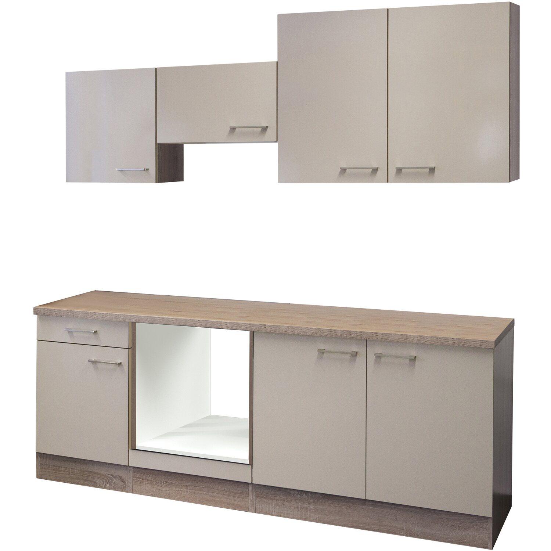 Flex-Well Küchenzeile/Küchenblock 210 cm ohne E-Geräte Orlando Kaschmir Glanz - Sonoma Eiche