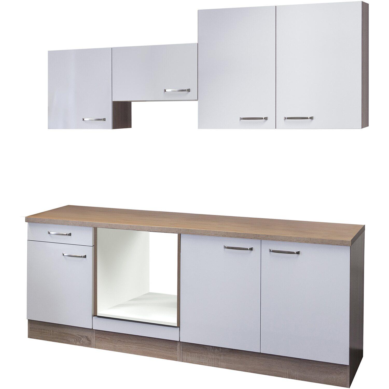 Flex-Well Küchenzeile/Küchenblock 210 cm ohne E-Geräte Valero Hochglanz Weiß - Sonoma Eiche
