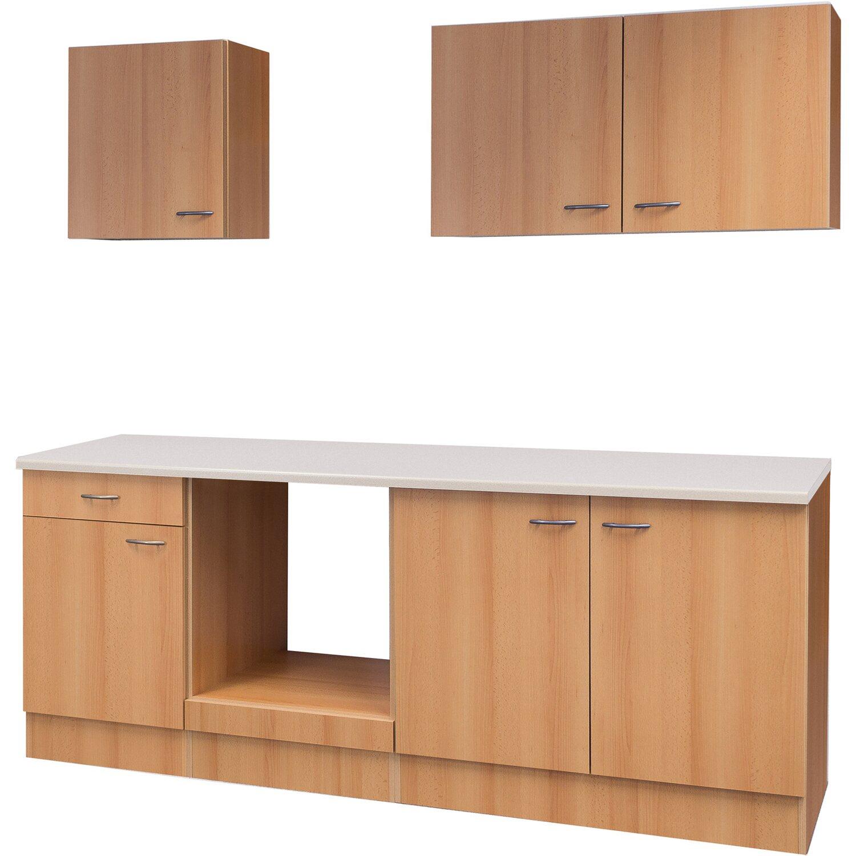 Flex-Well Küchenzeile/Küchenblock 210 cm ohne E-Geräte Nano Buche