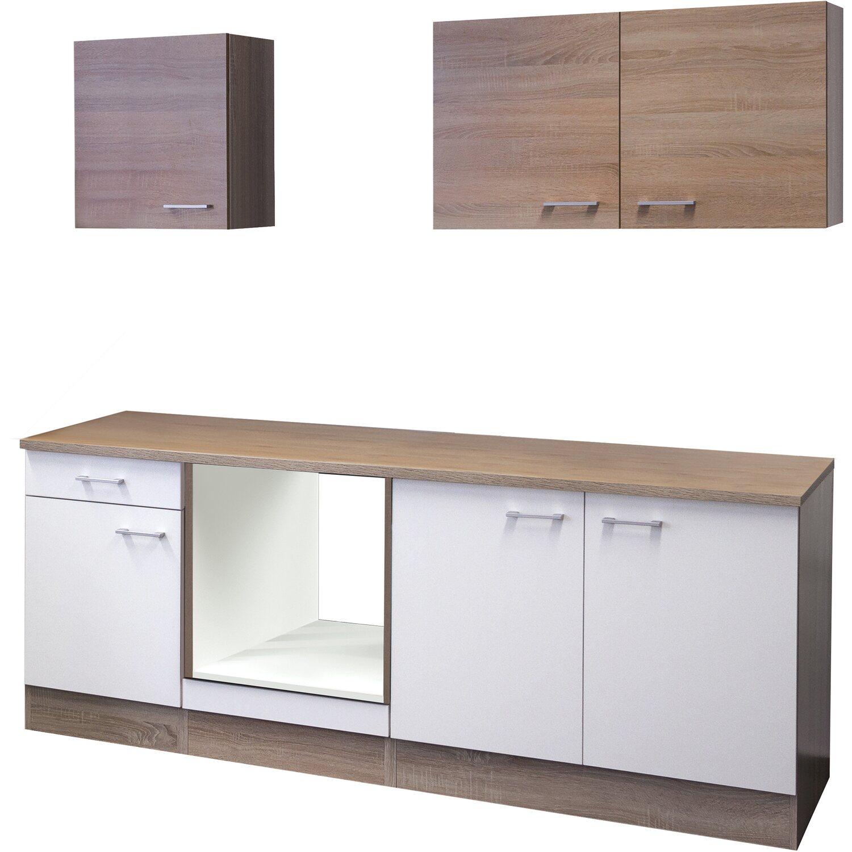 Flex-Well Küchenzeile/Küchenblock 210 cm ohne E-Geräte Florida Weiß - Sonoma Eiche